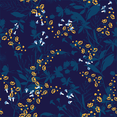 Trendy  Floral pattern in the many kind of flowers. Tropical botanical  Motifs scattered random. Seamless vector texture. For fashion prints. Printing with in hand drawn style on navy blue background.