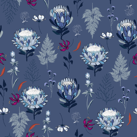 Seamless Pattern monotone blue protea flowers,  Isolated on  bluecolor. Botanical Floral Decoration Texture. Vintage Style Design for Fabric Print, Wallpaper Background.