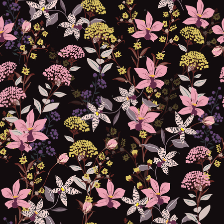 Seamless Pattern wild flowers,  Isolated on black color. Botanical Floral Decoration Texture. Vintage Style Design for Fabric Print, Wallpaper Background.