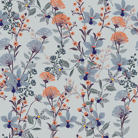 Seamless Pattern wild flowers,  Isolated on blue color. Botanical Floral Decoration Texture. Vintage Style Design for Fabric Print, Wallpaper Background.