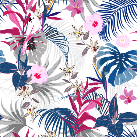 Trendy vector seamless beautiful artistic summer tropical pattern with exotic forest. Bright and Colorful original stylish floral background print, bright forest flower on white