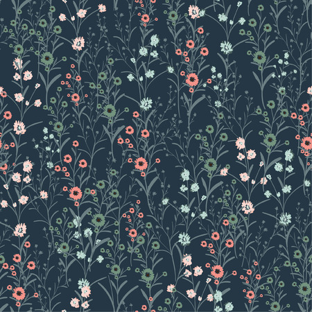 Vintage Hand-drawn vector seamless wild flowers and botanical pattern with different plants. Repeated natural background with many flowers on navy background. Illustration