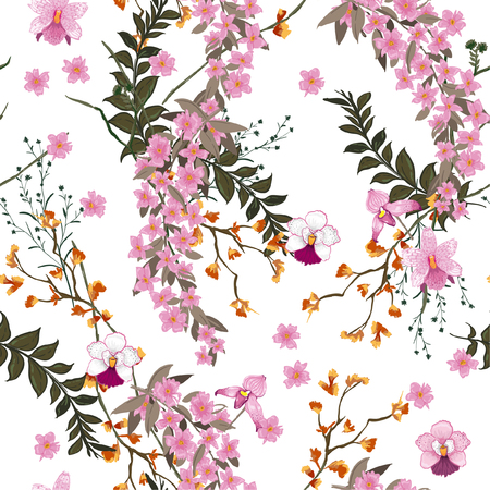 Beautiful blooming Floral pattern in the many kind of wild flowers. Botanical  Motifs scattered random. Seamless vector texture. For fashion prints in hand drawn style white background.