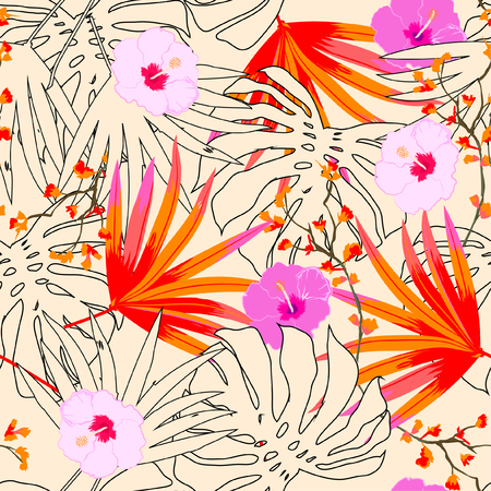 A Vector seamless beautiful artistic bright tropical pattern with exotic forest. Colorful original stylish floral background print, bright colors on beige. Stock Illustratie