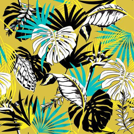 Trendy beautiful seamless vector tropical summer pattern background with palm leaves. Perfect for wallpapers, web page backgrounds, surface textures, textile on yellow Vectores