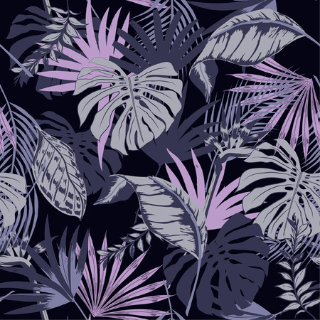 Beautiful seamless vector tropical summer pattern background with palm leaves. Perfect for wallpapers, web page backgrounds, surface textures, textile on purple 版權商用圖片 - 92712087