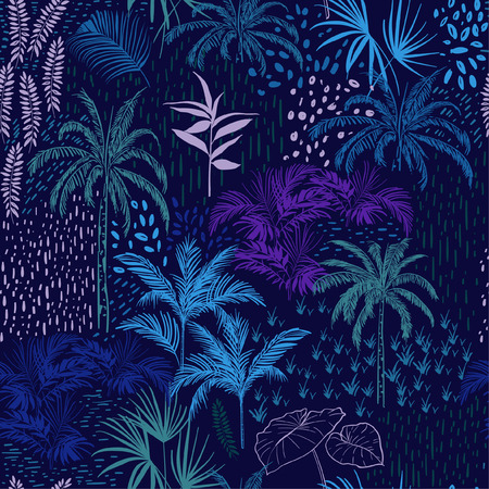 Vector seamless pattern of monotone blue forest for summer tropical prints mixed with colorful hand painting polka dots and exotic trees. Illustration