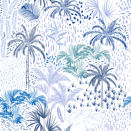 Beautiful seamless tropical forest pattern on white background. Landscape with palm trees,exotic wild and plants vector in hand drawn style. Illusztráció