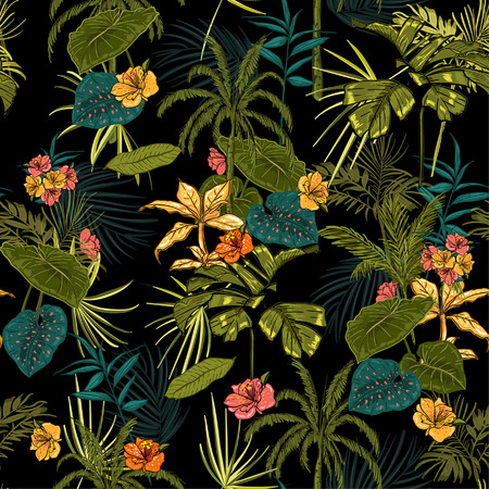 vector seamless beautiful artistic dark tropical pattern with exotic forest. Colorful original stylish floral background print, bright rainbow colors on black Stock Illustratie