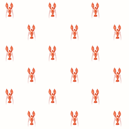 Seamless vector lobster pattern on white.