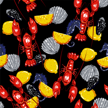 Colorful summer Seamless sea pattern with colorful summer shell and lobsters.Colorful summer lemons and seahorse vector background.Textile texture on black background.