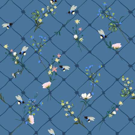 Beautiful wild flowers with hand drawing grid and bumblebee seamless pattern vector many kind of garden florals for fahion prints and all prints on blue background.