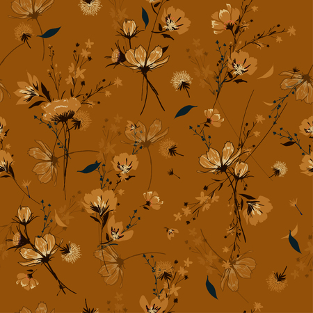Vintage Seamless Pattern wind blow flowers,  Isolated on retro color. Botanical Floral Decoration Texture. Vintage Style Design for Fabric Print, Wallpaper Background. Ilustração