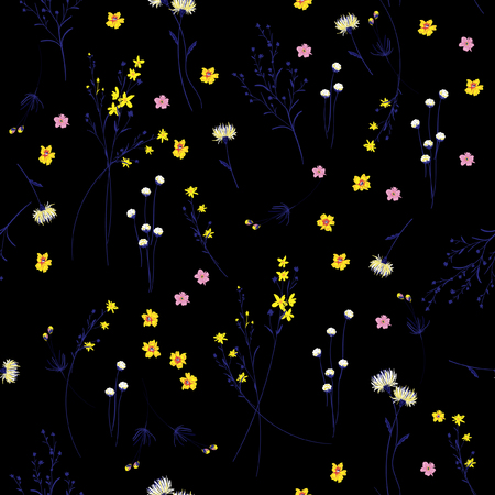 Trendy dark Floral pattern in the many kind of flowers. Wild botanical Motifs scattered random. Seamless vector texture. For fashion prints. Printing with in hand drawn style on black background.