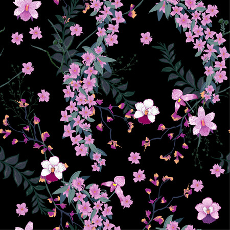 Beautiful night blooming Floral pattern in the many kind of wild flowers. Botanical Motifs scattered random. Seamless vector texture. For fashion prints in hand drawn style black background.