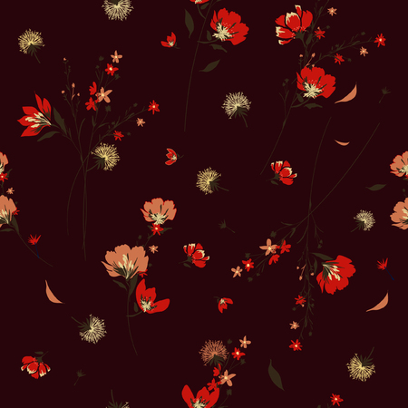 Trendy  wild flower pattern in the many kind of flowers.Botanical  Motifs scattered random. Seamless vector texture. Elegant template for fashion prints. Printing with in hand drawn style maroon color  background.
