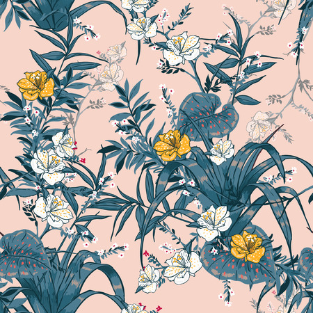 A vector seamless beautiful artistic bright tropical pattern with exotic forest. Colorful original stylish floral background print, bright rainbow colors on pink. Stock Illustratie