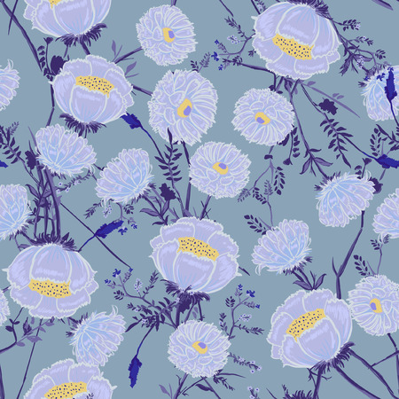 Blooming  Floral pattern in the many kind of flowers. Forest garden botanical  Motifs scattered random. Seamless vector texture. Printing with in hand drawn style in sky blue  background. 向量圖像