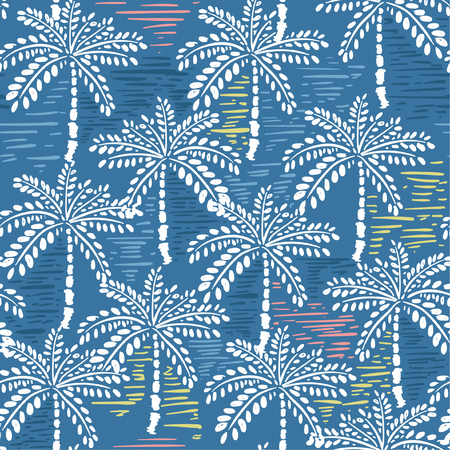 Vector seamless pattern of hand drawing forest for summer tropical prints mixed with colorful hand painting stripe and exotic trees on blue