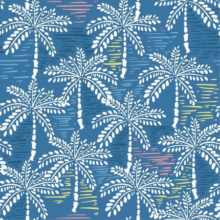Vector nahtloses Muster des Handzeichnungswaldes für die tropischen Drucke des Sommers, die mit buntem Handmalereistreifen und exotischen Bäumen auf Blau gemischt werden