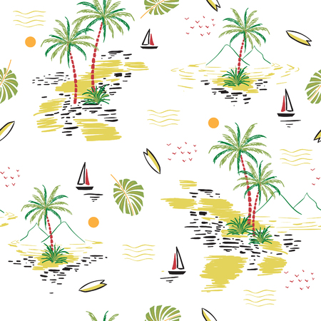 Beautiful seamless island pattern on white background. Landscape with palm trees,beach and ocean vector hand drawn style. Stock Illustratie