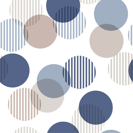 Vector seamless pattern. Monotone blue and beige Abstract background with roundpolka dots mix in stripe. Freshing color texture. Stylish polka dot on white. Иллюстрация