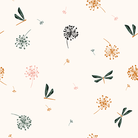 Seamless pattern vector with wind blow flowers and dragonflies. beautiful hand-drawn illustration on beige.