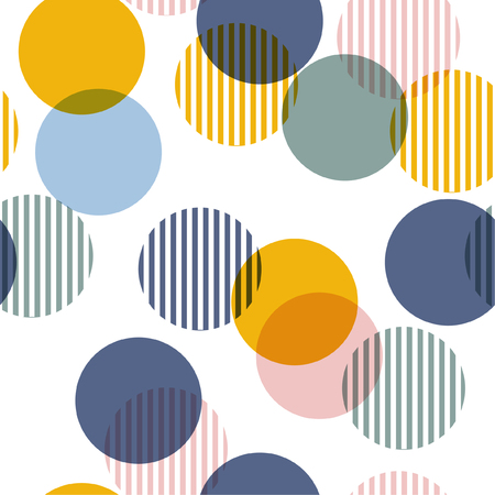 Vector seamless pattern. Colorful abstract background with round polka dots mix in stripe. Fresh color texture. Stylish polka dot.