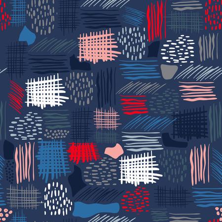 装飾的な水彩画とインク要素を持つ手描きの抽象的なシームレスなパターン:水玉、ストライプ、ライン.カラフルネイビーブルーの背景にシームレスに繰り返し。