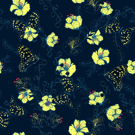 Vector seamless pattern flower and butterflies with dash and embroidery technic beautiful delicate for fashion wallpaper and etc. Stylish yellow flower on dark blue.