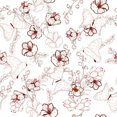 Beautiful Vector semleass pattern flower and butterflies with dash and embroidery technic beautiful delicate for fashion wallpaper and ect. Stylish light pink flower on white