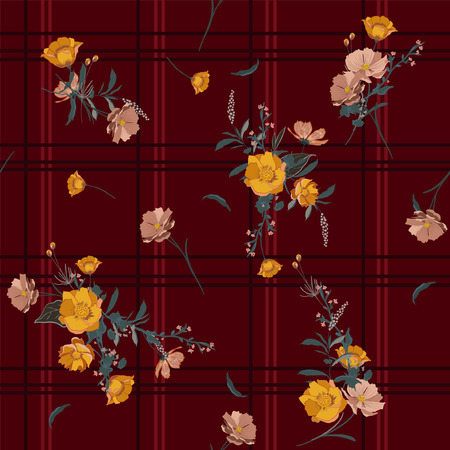 seamless vector check background with bouquets of flowers on dark maroon color