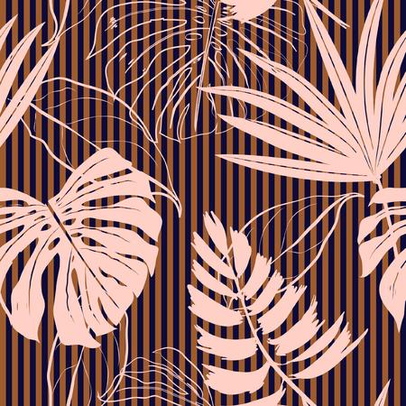 Modello di foglie tropicali rosa disegnati a mano Archivio Fotografico - 94297807
