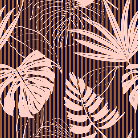 Hand Drawn pink tropical leaves Pattern