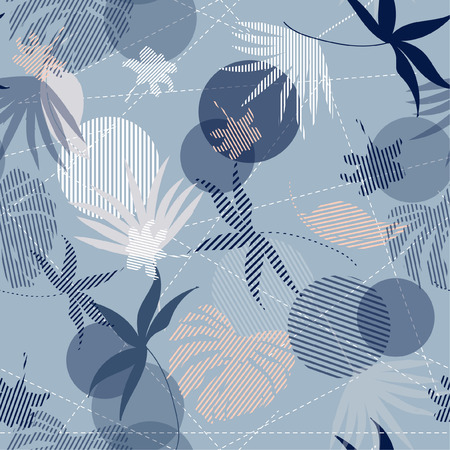 Seamless Hand Drawn tropical pastel silhouette exotic leaves Pattern on bright blue mixed with stripes Print vector