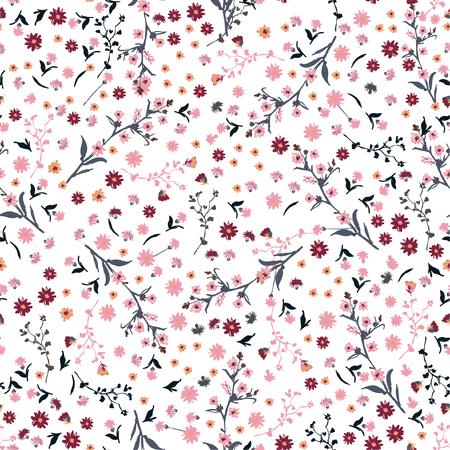 小さなピンクと赤の花で美しい野生の花明るいパターン。リバティスタイルの牧草地。白の織物、本のカバー、製造、壁紙、プリント、ギフトラップ、スクラップブックのための花のシームレスな背景