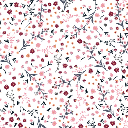 Beautiful wild flowers bright pattern in small-scale pink and red flowers. Liberty style meadow. Floral seamless background for textile, book covers, manufacturing, wallpapers, print, gift wrap and scrapbook on white