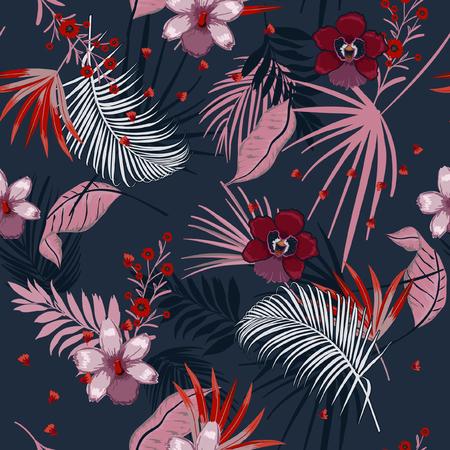 Vektor nahtlose schöne künstlerische dunkle Sommernacht helle tropische Muster mit exotischen Wald. Bunte ursprüngliche stilvolle Blumenmischung mit Blatthintergrunddruck, auf Marineblauerfarben