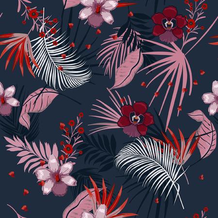 Vektor nahtlose schöne künstlerische dunkle Sommernacht helle tropische Muster mit exotischen Wald. Bunte ursprüngliche stilvolle Blumenmischung mit Blatthintergrunddruck, auf Marineblauerfarben Vektorgrafik
