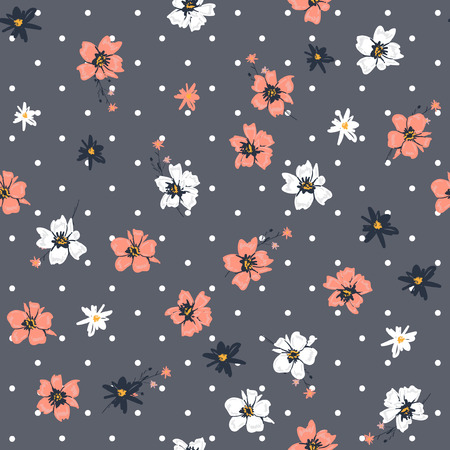 Beautiful  Vector seamless pattern sweet softy wild flower mix on modern polka dots grey background and white dots Illustration