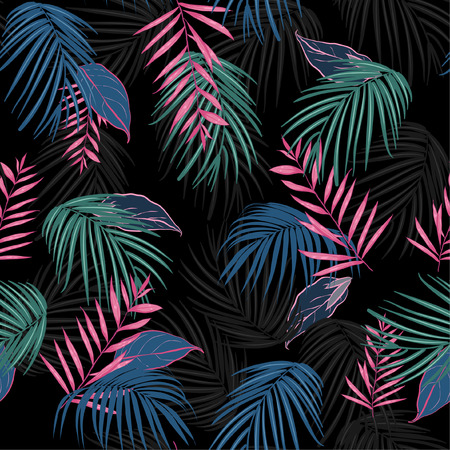 vector seamless beautiful artistic dark tropical pattern with exotic forest. Colorful original stylish floral background print, bright rainbow colors on Black Vettoriali