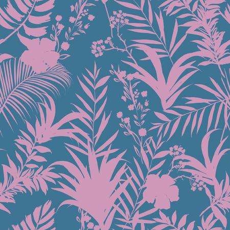 Belle palme e foresta tropicale sui precedenti blu e rosa pastelli dolci. Reticolo senza giunte Illustrazione tropicale. Fogliame della giungla. Vettoriali
