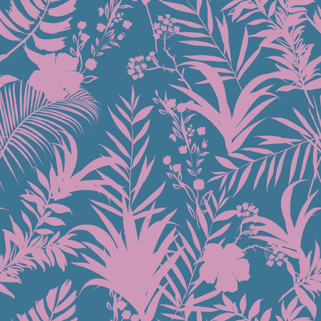 Beatiful  palm trees and tropical forest on the sweet pastel blue and pink  background. Vector seamless pattern. Tropical illustration. Jungle foliage. Stock Illustratie