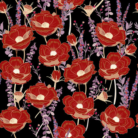 Dark night red flower seamless pattern on dark black background for wallpaper,book,card,paper,fabric , fashion,and all prints.