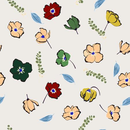 Floral nahtlose Muster blühende bunte Blumen botanische Motive verstreut . Nahtlose Vektor-Illustration . Elegante Vorlage für Modedrucke . Hand mit Hand gezeichnet auf hellem Hintergrund im grauen Stil