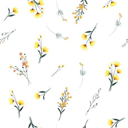 トレンディな黄色い風吹き、花の多くの種類の花のパターン。野生の植物モチーフ散乱シームレスベクターテクスチャ。ファッションプリント用。白い背景に手描きのスタイルで印刷します。 ベクターイラストレーション