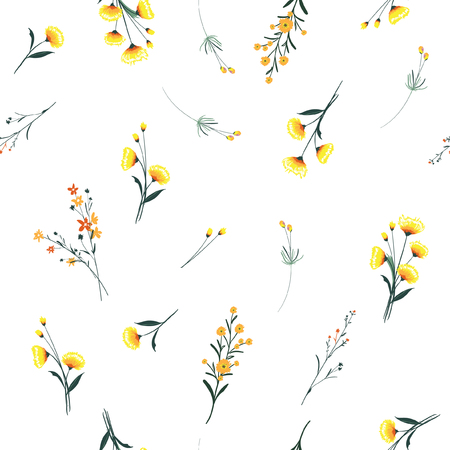 Trendy yellow wind blowing, floral pattern in the many kind of flowers. Wild botanical Motifs scattered Seamless vector texture. For fashion prints. Printing with in hand drawn style on white background. Stock Illustratie