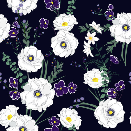 Softy blomming white florals mix with many kind of garden flowers ,Vector seamless pattern on drak navy blue background.