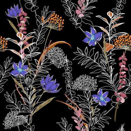 Unfinished dark colorful flower Seamless Pattern forest and leaves, line hand drawn style  Isolated on black color. Botanical  Floral Decoration Texture For Fabric Print, Wallpaper Background.