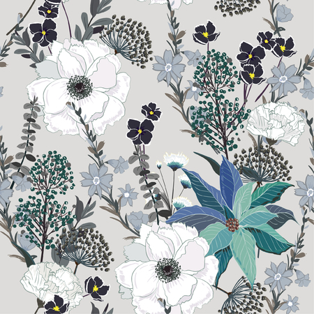 Beautiful hand drawing seamless pattern Blooming garden floral background for textile decor and design. botanical wallpaper on grey Illustration